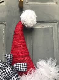 santa hat wreath santa hat door hanger santa wreath christmas