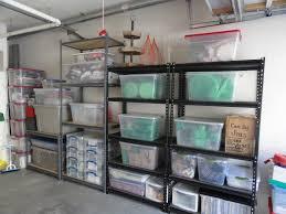 after garage makeover design with steel rack shelving and plastic