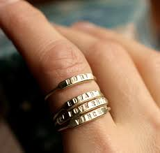 Name Ring Gold Stackable Name Ring Initial Ring Silver Id Ring Gold Stacking Ring