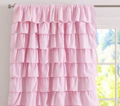 light pink ruffle curtains ruffle blackout panel pottery barn kids i could make this with a