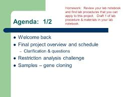 Challenge Procedure Agenda 1 2 Welcome Back Project Overview And Schedule