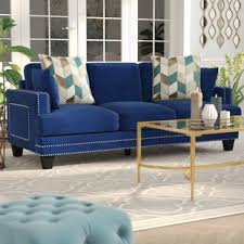 Modern Blue Sofa Navy Blue Sofa Wayfair