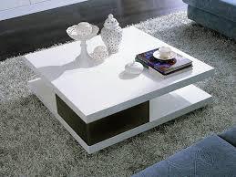 table basse carrée moli en mdf laqué noir et blanc 56777 table