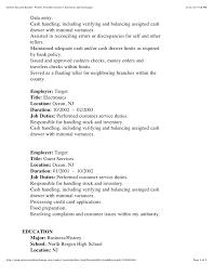 Target Cashier Job Description For Resume by Kedwins Resume