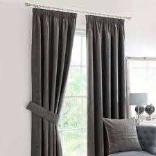 Pencil Pleat Curtains Chenille Grey Lined Pencil Pleat Curtains Dunelm