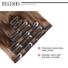Human Hair Extensions With Clips by Aliexpress Com Buy Rechoo Straight Clip In Human Hair Extensions