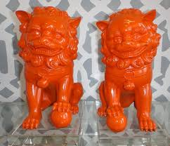orange foo dogs orange décor home orange décor à la maison littlebearprod