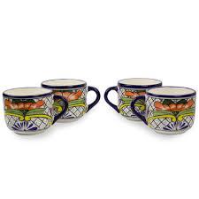 Ceramic Coffee Mugs Set Of 4 Mexican Talavera Style Ceramic Coffee Cups Guanajuato