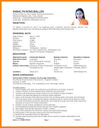 resume format 2017 philippines 5 exle of filipino resume format biodata sles