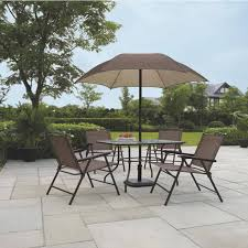 Patio Dining Sets With Umbrella Patio Dining Set W Umbrella Outdoor Seating Folding Rust Scratch