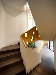 villa gorgeous hallway at mop house with concrete staircase and