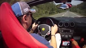 ferrary driving driving f430 spider at high speed road