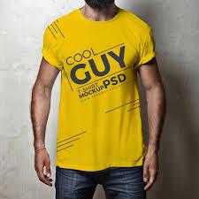 free cool guy t shirt mockup psd