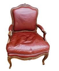 fauteuil dos fauteuil à dos plat époque louis xv avec garniture cuir xviiie
