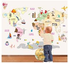 Aliexpresscom  Buy Creative Cartoon Animals World Map Wall - Cheap wall stickers for kids rooms
