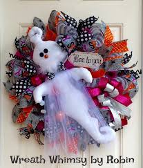 halloween deco mesh ghost wreath in pink orange u0026 grey fall