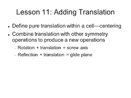 lesson 11 adding translation define pure translation within a