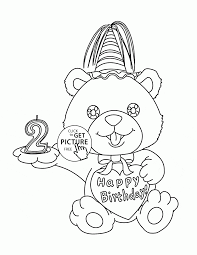 birthday teddy bear with number 2 coloring page for kids holiday