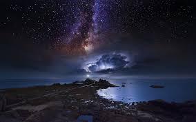 nature landscape coast long exposure starry night milky way