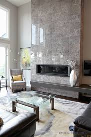 contemporary design living room with tall tile fireplace with