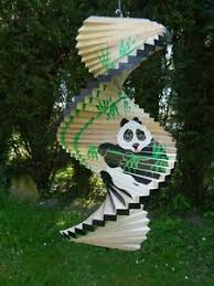 wind spinner wooden spiral mobile garden ornament panda assorted