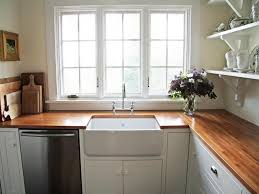 Woodem Butcher Block Countertops Plus White Sink Plus Cabinet For - White kitchen cabinets with butcher block countertops
