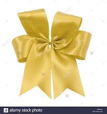 gold satin ribbon beautiful gold bow from satin ribbon on white background stock photo