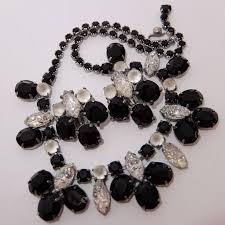art glass necklace images Schiaparelli black crystal faux diamond lava rock art glass jpg