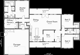 split bedroom floor plans single level house plans one story house plans great room house