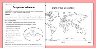 volcanoes activity sheet pack worksheet