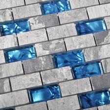 24 off ocean blue glass nature stone tile kitchen backsplash 3d
