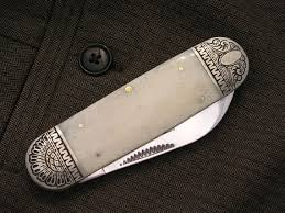pocket knife engraving rr1271 rider leg w purple bone handles pocket knife