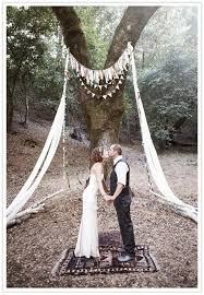 wedding arch no flowers these elements cloth fringe pennant banner and cloth swath