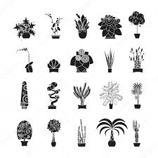 silhouette icons of houseplants indoor and office plants in pot