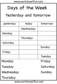 days of the week printable worksheets pinterest next day