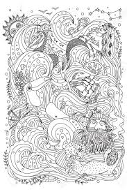 Exotic Theme Monochrome Ornament For Coloring Book Sea Theme Old