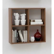 bari four compartment wall mounted shelf unit for cd dvd books