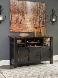 ashley furniture quinley two tone finish dining storage server