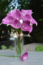silk wedding flower packages real touch light purple calla lilies for lavender silk wedding