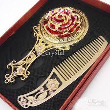 vintage comb antique flower mosaic copper mirror vintage portable compact