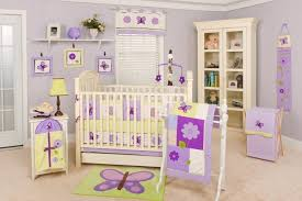 pale lavender baby bedroom paint color with pinewood crib and side