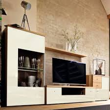 contemporary tv wall unit oak glossy lacquered wood modular