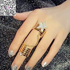 girl finger rings images Hot new lady women gold silver crystal star charm double finger jpg