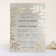 foil wedding invitations leaves foil wedding invitations by pandercraft