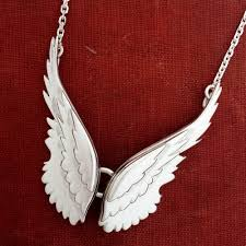 silver necklace wings images Handmade sterling silver pair of angel wings necklace jpg
