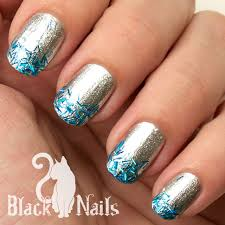 easy silver and blue winter glitter nails black cat nails