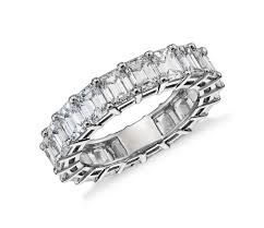 schalins ring emerald cut diamond eternity ring in platinum 6 ct tw blue nile