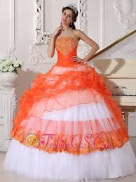 orange quinceanera dresses orange and white quinceanera dress straplesstaffeta and organza