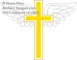illustration of a golden cross with wings