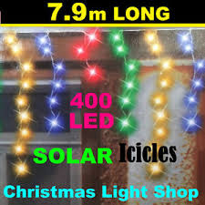 400 led outdoor christmas lights 400 led solar icicles multicolour flashing 8m outdoor christmas